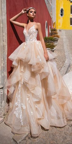 Milla Nova 2018 Wedding Dresses Collection ❤️ ball gown ruffled skirt cappuccino sweetheart neck spaghetti straps lace milla nova 2018 wedding dresses veronic ❤️ See more: http://www.weddingforward.com/milla-nova-2018-wedding-dresses/ #weddingforward #wedding #bride #weddingdress