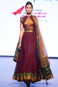 Shravan Kumar Spring/Summer 2015 Ready-To-Wear Saree Gown, Sari Dress, Anarkali Dress, Half Saree Designs, Lehenga Designs, Salwar Designs, Indian Designer Outfits, Designer Dresses, Indian Gowns Dresses