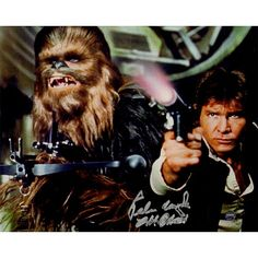 """Peter Mayhew Signed """"Chewbacca"""" with Han Solo Defending the Millenium Falcon Star Wars Episode IV: A New Hope 8"""" x 10"""" Photo"""