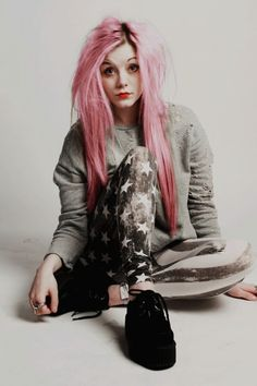 pink hair and star pants