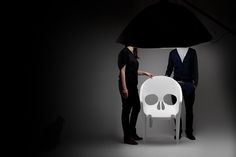 Little dark, but interesting skull shaped plastic chair from design studio Pool
