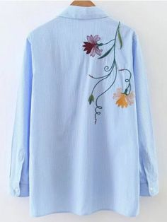 Shop Blue Vertical Striped Embroidery High Low Blouse at ROMWE, discover more fashion styles online. Embroidery On Clothes, Shirt Embroidery, Embroidered Clothes, Embroidery Floss Projects, Embroidery Designs, Kurta Designs, Blouse Designs, Embroidery Suits Punjabi, Stylish Dresses For Girls