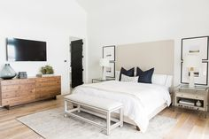 Modern Neutrals  I - The large scale mats on the photos make the room.