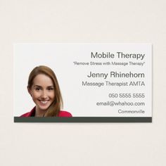 Massage Therapy 2 Sided Portrait Name Card - business template gifts unique customize diy personalize