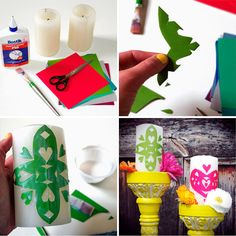 Dia de los Muertos candle craft - fun way to add color to tables