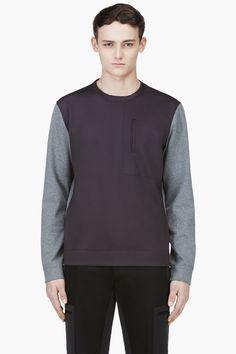 CALVIN KLEIN COLLECTION Heathered Grey & Black Crewneck Sweater