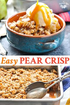 Easy Pear Crisp is a perfect fall dessert recipe! Everyone loves this delicious party food.This Easy Pear Crisp is a perfect fall dessert recipe! Everyone loves this delicious party food. Pear Recipes Easy, Pear Dessert Recipes, Köstliche Desserts, Fruit Recipes, Fall Recipes, Baking Recipes, Delicious Desserts, Desert Recipes, Sweets Recipe
