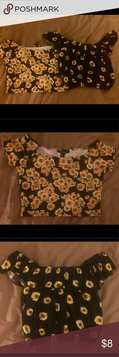 2 Sunflower Crop tops 🌻🌻🌻 size s/m 2 black crop tops with different sunflower prints! 🌻🌻🌻 the more black has been worn a few times. The other has never been worn. Both are a medium. Forever 21 and Love Culture Forever 21 Tops Crop Tops