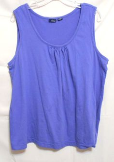 Basic Editions Periwinkle Blue Gathered Neck Tank Top Size 1X Cotton #BasicEditions #TankCami #Career