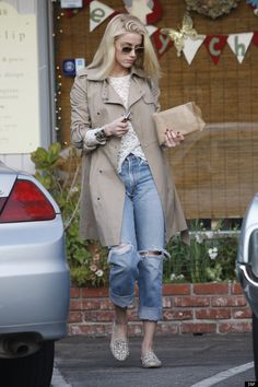 Amber Heard In A Trench Coat And Loafers: Look Of The Day
