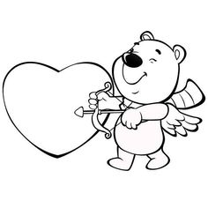 Cute Valentine Coloring Pages Best Of This Cute Little Bear is Acting as Cupid for Valentine's Heart Coloring Pages, Online Coloring Pages, Animal Coloring Pages, Adult Coloring Pages, Coloring Books, Valentines Day Bulletin Board, Bear Valentines, Valentines Day Hearts, Valentines Day Coloring Page