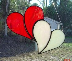 Irridescent Red and White Stained Glass Double Heart Suncatcher