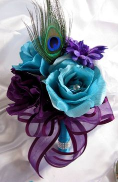 Artificial Flower Wedding Bouquets with feathers   ... Bouquet Bridal Silk flowers TURQUOISE PURPLE PLUM PEACOCK FEATHER 17pc