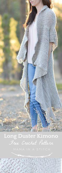 Endless Drape Kimono Duster Crochet Pattern via @MamaInAStitch