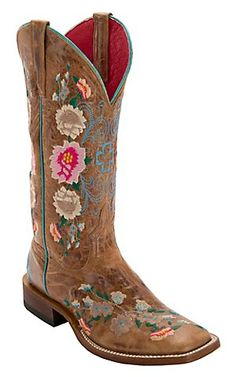 Anderson Bean® Macie Bean™ Womens Antiqued Honey Brown w/ Rose Garden Embroidery Square Toe Boots | Cavenders Boot City