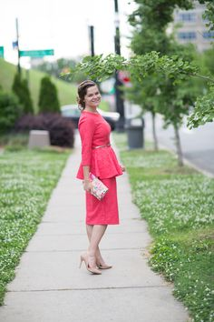 Dainty Jewell's Addison Dress: you'll feel equal parts cute and classy when you slip into this coral lace dress! Modest fashion, modest bridesmaid dresses at www.daintyjewells.com