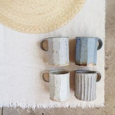Beautiful, tactile mugs, made in LA by Lovely home accessories, ceramic mugs in pastel blues Pottery Mugs, Ceramic Pottery, Pottery Kiln, Ceramic Cups, Ceramic Art, Stoneware Mugs, Cerámica Ideas, Keramik Design, Pottery Classes