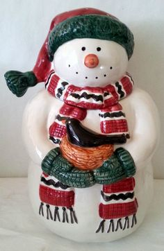 "Debbie Mumm Snowman Cookie Jar Hand Painted Earthenware 11"" Tall Excellent Condition  See this Cookie Jar as well as other Snowman Products at my ebay store: http://stores.shop.ebay.com/adriennesgalleria"