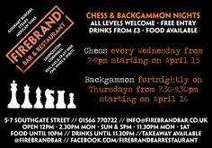 Join us for free backgammon and chess nights www.facebook.com/events/405014829678510/