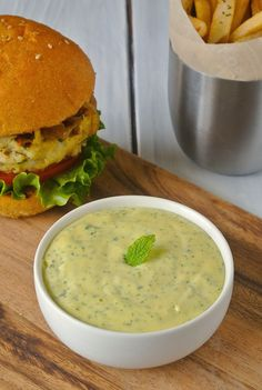 Cilantro mint mayonnaise, perfect on burgers or sandwiches