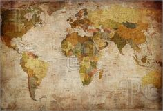 Old World Map love the colors, this is the theme i want in my guest room!