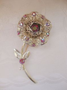 "Vintage Sarah Coventry ""Fashion Flower"" Rhinestone Pin"