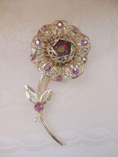 "Vintage Sarah Coventry ""Fashion Flower"" Rhinestone Pin"