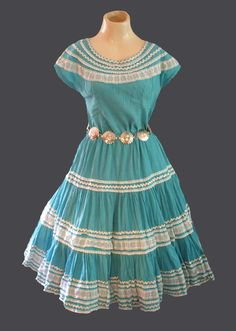 VINTAGE 50's SQUAW PATIO SOUTHWEST SKIRT & TOP SET TURQUOISE & SILVER  #AlphaSportswearTucsonArizona