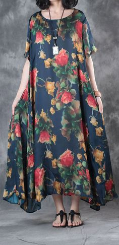 casual silk dresses oversize large hem sundress short sleeve maxi dress