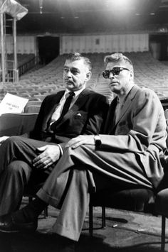 Clark Gable and Burt Lancaster at the Oscars rehearsal, 1958