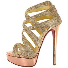 Christian Louboutin Gold Glittered Balota Platform [10004A] - $122.34 : Designershoes-shopping, Top Designer high heel UP TO 90% OFF!