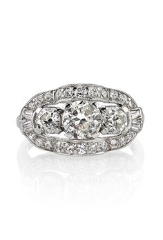 Brides.com: . Style TR-14, 1.15 carat old European-cut diamonds set in a vintage platinum mounting circle 1930, price upon request, Single Stone