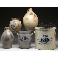 FIVE PIECES OF DECORATED STONEWARE.