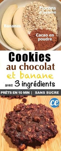 - Beauty & Health - La Délicieuse Recette des Cookies au Chocolat Avec SEULEMENT 3 Ingrédients The + Delicious + Recipe + of + the + Chocolate Cookies + + + With + 3 + ONLY Ingredients. Healthy Bread Recipes, Zucchini Bread Recipes, Healthy Banana Bread, Gourmet Recipes, Healthy Snacks, Healthy Zucchini, Cookies Healthy, Vegan Recipes, Dinner Recipes