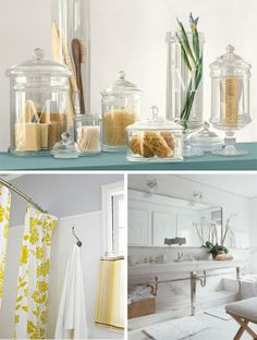 The top idea with the glass is perfect for a spa inspired bathroom. I would