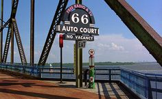 """Route 66 - Chain if Rocks Bridge. Vintage gas pumps on this crossing of the Mississippi. """"The Fine Art Photography of Frank Romeo."""""""