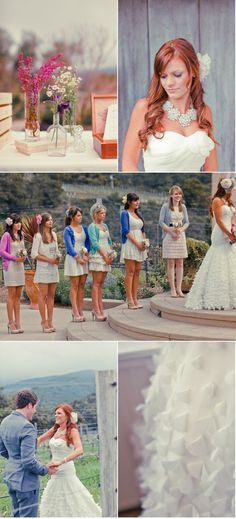 Love this rustic Ranch wedding. Casual dresses for the bridesmaids, dramatic backdrop, gorgeous wedding gown.