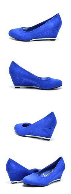 Sassy Sexy ELLE-2 New Women's Faux Suede/Glitter Upper Low Wedge Heels Pumps Shoes, ELLE-2-ROYAL BLUE, 10 B(M) US