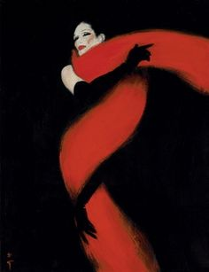 La femme en Noir  (1980 - René Gruau)        Title    La femme en Noir          Medium    oil on canvas
