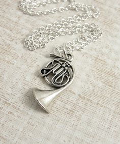 French Horn Necklace - Silver Plated Charm on a 17 inch Cable Chain. $10.00, via Etsy. ok for syd