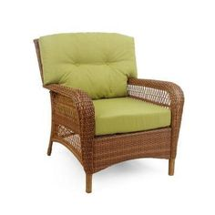 Martha Stewart Living Patio Furniture. Charlottetown Brown All-Weather Wicker Patio Lounge Chair with Green Bean Cushions