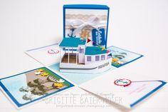 Explosionsbox als Geschenkgutschein für eine Schiffsreise #stampinup, #explosionsbox #basteln #papier #geburtstag #geschenk