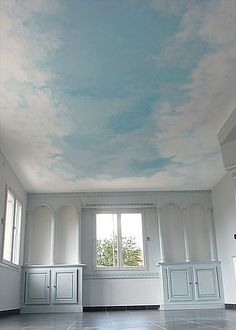 Wand und Decke false skies Get Creative With A Garden Design Article Body: Adding a garden can be th Bedroom Murals, Bedroom Ceiling, Bedroom Decor, Ceiling Painting, Ceiling Murals, Cloud Ceiling, Poster Mural, Room Paint, Ceiling Design
