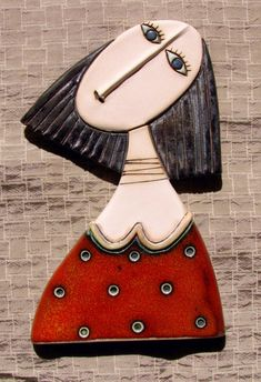 Girl with Red Dress - Original Handmade Ceramic Art Tile,Wall Art,Home Decoration