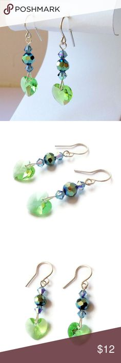 Peridot and Indian Sapphire Heart Earrings These sweet and simple earrings are made with sparkling beads in such pretty colors. The peridot-colored heart is complemented with light sapphire Swarovski crystals and blue-green Chinese crystal beads. These would make a perfect gift for any girl with an August birthday.  Made with 10mm Swarovski crystal hearts, round Chinese glass beads, and Swarovski crystal bicones. All wire is silver plated and non-tarnish.  Earrings measure just over 1.5…