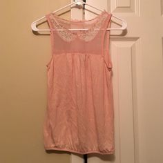 Pink lace and mesh top Baby pink top with mesh half-bustier and lace collar American Eagle Outfitters Tops Tank Tops