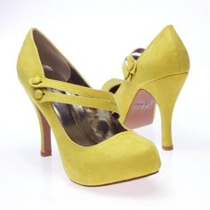 Qupid Women's TRENCH26 Almond Toe Double Mary Jane Straps Platform High Heel Stiletto Pump Shoes, Lemon Yellow Green Faux Suede, $45