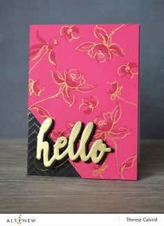 Card by Therese Calvird  (101015)  [Altenew (dies)  Halftone Hello and (stamps) Golden Garden]