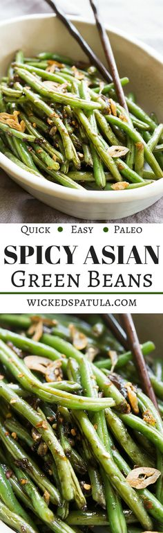 Paleo Asian Green Beans - Ready in just minutes this healthy side dish goes with just about any protein! Can sub aminos with sugar free, MSG free fish sauce. Paleo Side Dishes, Vegetable Side Dishes, Food Dishes, Whole Food Recipes, Vegetarian Recipes, Healthy Recipes, Healthy Meals, Easy Recipes, Healthy Food