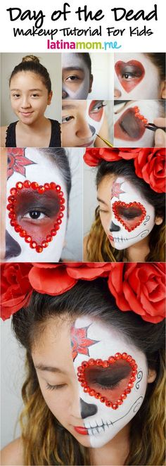 Day of the Dead Face Painting Tutorial for Kids: Celebrate the spiritual holiday with sugar skull face paint by on For Halloween? Theme Halloween, Halloween Make Up, Halloween Face Makeup, Kids Halloween Face Paint, Face Painting Tutorials, Face Painting Designs, Maquillaje Sugar Skull, Makeup Tutorial For Kids, Makeup Tutorials